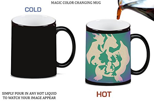 Charmander Charmaleon Charizard Evolution Pokemon Silhouette Design Print Image Magic Color Changing Ceramic Coffee Mug Tea Cup by Trendy Accessories (Charizard Coffee Mug)