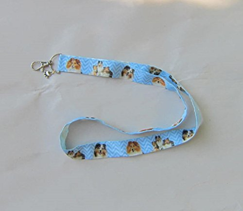 SHELTIE SHETLAND SHEEPDOG Dog Breed Ribbon Lanyard/Keychain/Badge Holder w/Metal (Sheepdog Dog Keychain)