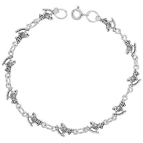 (Dainty Sterling Silver Rocking Horse Bracelet for Women and Girls, 1/4 wide 7.5 inch long)