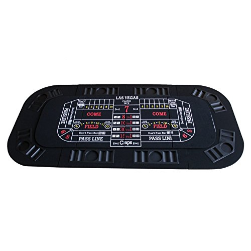 3 in 1 Folding Casino Texas Hold'em Table Top Black (Poker/Craps/Roulette) with Carrying Bag by IDS Home (Image #2)