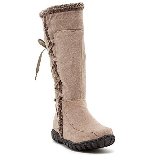 Serene Safiyah Womens Fashion Faux Shearling Trim Boots, ...