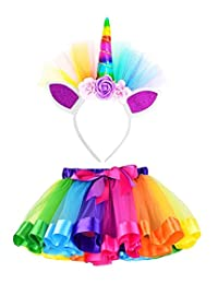 Lesimsam Little Girls Layered Tulle Tutu Skirt with Unicorn Horn Headband 5-8T Rainbow