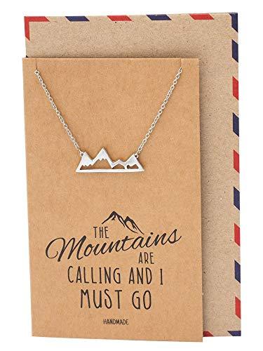 (Quan Jewelry Mountain Pendant Necklace for Men and Women, Adventure and Outdoor Lovers, Mountains Jewelry Gift with Greeting Card)