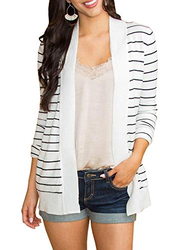 Lightweight Striped Sweater - Tutorutor Womens Tops Striped Open Front Cardigan Sweaters Coat Lightweight Outwear Casual Duster with Pockets
