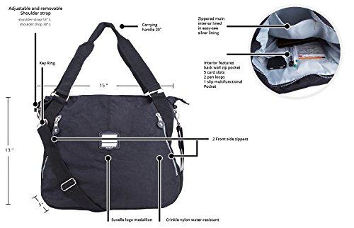 Large Handbag Suvelle Pocket Lightweight Bag Travel Multi Shoulder Crossbody Grey 1932 Everyday Tote O5q51C