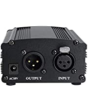 USB 1 Channel 48V Phantom Power With Adapter Compatible With Condenser Microphone