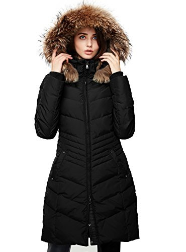 Escalier Women's Down Coat Winter Parka Jacket with Raccoon Fur Hooded Black S