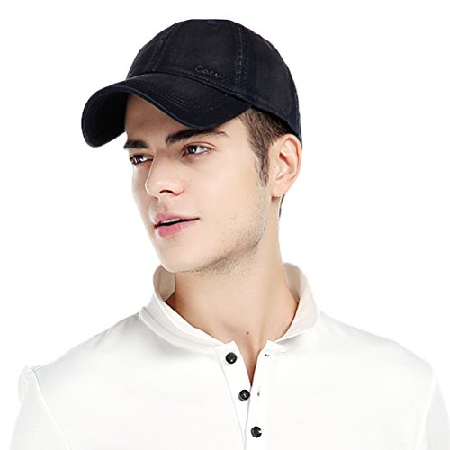 Buckle Closure Cotton Cap (CACUSS Men's Cotton Classic Baseball Cap with Adjustable Buckle Closure Dad Hat (1, 1))