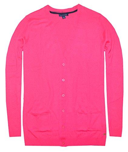Tommy Hilfiger Women V-Neck Cardigan Sweater (L, American Rose)