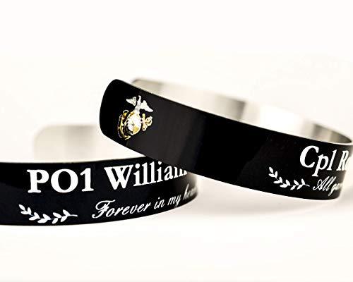 (USMC Military Memorial Bracelet, Personalized Marine Corps KIA Fallen Cuff Bracelet w/rank name quote, Gold Star Mom Wife Family Veteran)
