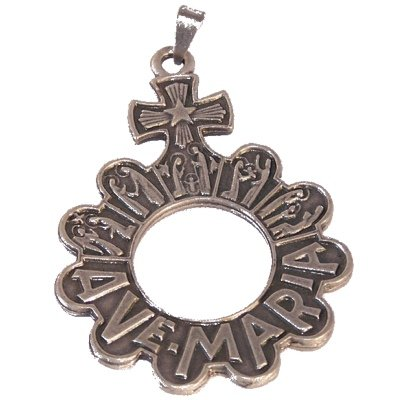 Finger Rosary and Medal Cross - pewter showing the fifteen mysteries of the t...