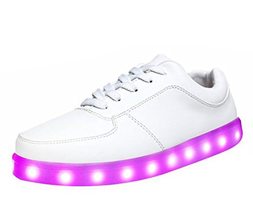 [Presente:pequeña toalla]JUNGLEST® Unisex 7 Colors USB Carga LED Luz Luminosas Flashing Sneakers Altotop Zapatos Zapatillas de Depo Blanco
