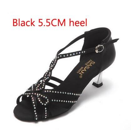 YFF T-font Strasssteinen Satin-Fabric Frauen Latin Dance Shoe 5,5cm 8,5cm Ferse Latin Tango Salsa Tango Schuh Mädchen Sansals,Schwarz 55 mm Absatz,5.