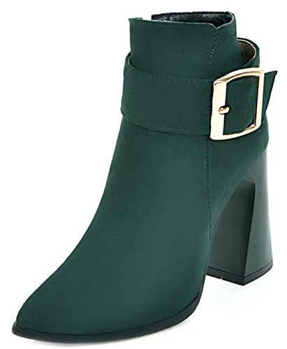 Green Women's Booties Fashion Toe Suede Up Pointy Army Faux Aisun Zip PnfBqdxwvv