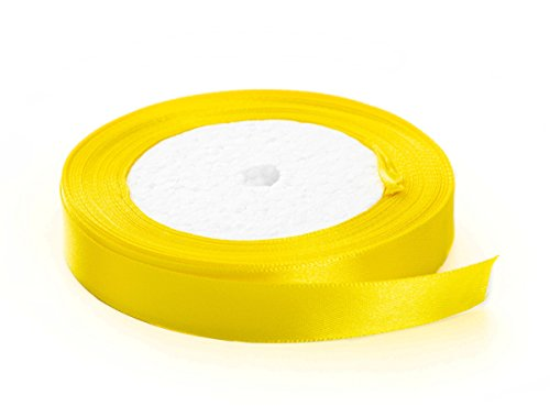 Solid Color Satin Fabric Ribbon (Yellow, 3/8