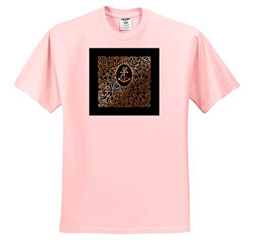 3dRose Russ Billington Nautical Designs - Image of Brass Effect Nautical Anchor and Ornate Frame- not Metal foil - T-Shirts - Toddler Light-Pink-T-Shirt (2T) (ts_291550_47) ()
