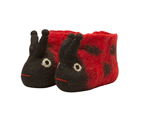 Invisible World 100% Wool Felt Hand-Made Nepalese Baby Booties Ladybug - Baby Size ()