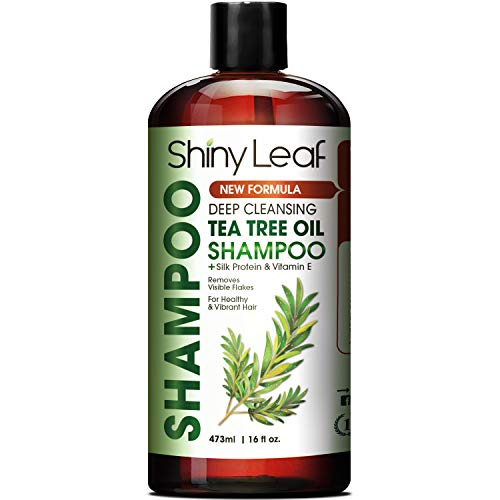Tea Tree Oil Shampoo, Sulfate Free Anti-dandruff Shampoo with Essential Tea Tree Oil, Deep Cleansing Formula, with Silk Proteins for Soft and Smooth Hair, Gets Rid of Head Lice,16 fl. Oz. -  Shiny Leaf, SL-TTO-SM-2