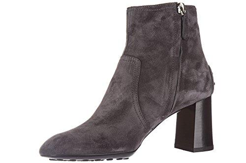 Tod's demi bottes femme à talon en daim caoutchouc t70 tronchetto gris