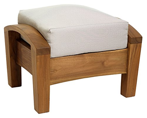 Casual Elements Barcelona Deep Seater Ottoman, Exterior Natural with Cream (Barcelona Storage Ottoman)