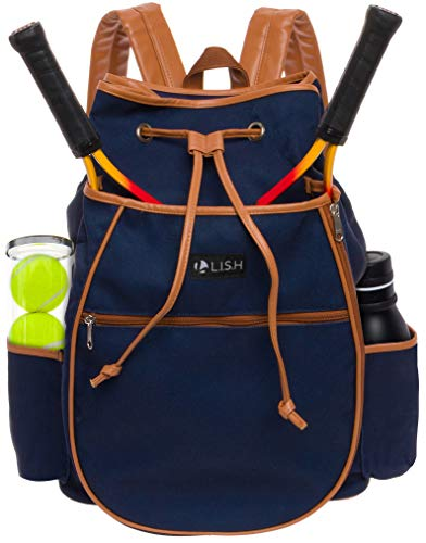 LISH Match Point Canvas Tennis Racket Backpack - Solid Drawstring Racquet Holder Bag (Navy)