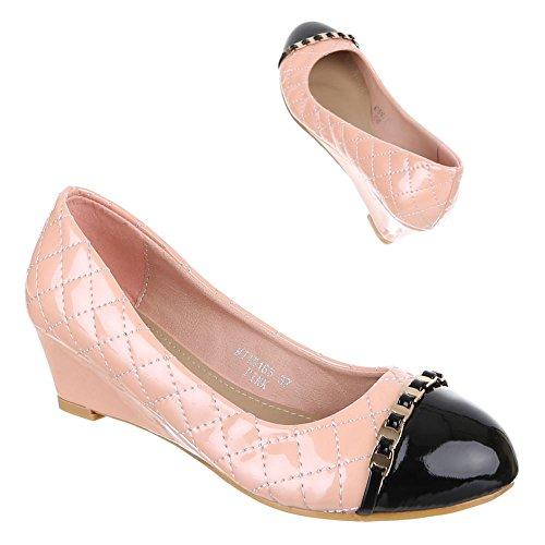 Ital-Design Damen Schuhe, MJ15163, Pumps Keil Rosa