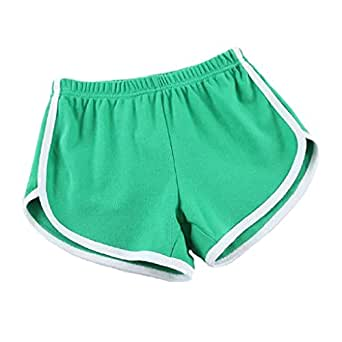 Women's Pure Cotton Over Size Sports Loosing Weight Yoga Shorts green-S