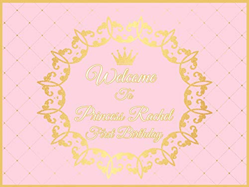 (Crown Pink and gold party Supplies, 1st birthday girl decorations- Size 24x36, 48x24, 48x36; Royal, Tiaras, Personalized princess Wall Poster Handmade Party Supplies Birthday Banner, photo backdrop)