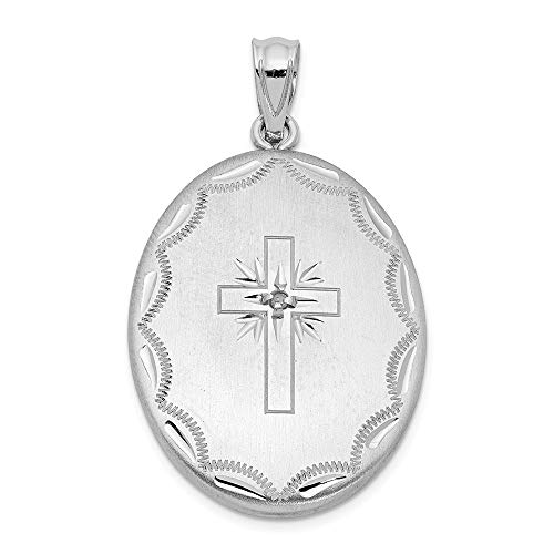 (925 Sterling Silver Rhodium-plated Brushed Cross Oval Open Locket Pendant 0.01ct Diamond Accented)