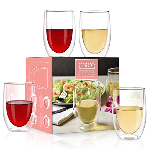 Wine Glasses – Set of 4-13 oz Tumbler Cup – Double Walled Glassware – Stemless Large Drinking Glass – Red & White Wine…