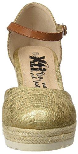 XTI 046537, Sandalias con Plataforma para Mujer Dorado (Oro)