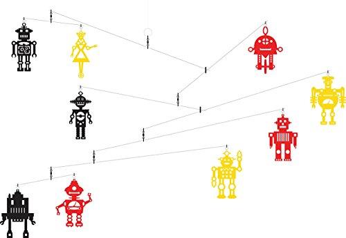 Hanging Art Mobile - Multi Colors Retro Robots by Futura Mobiles