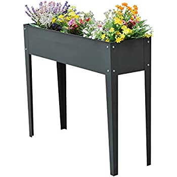 "Outsunny 40"" x 12"" x 32"" Metal Elevated Garden Bed Planter Box (Dark Gray)"