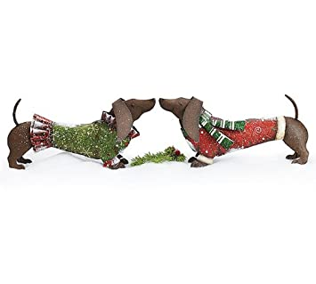 Burton Burton Hand-Painted Tin Dachshunds Wearing Christmas Sweaters Set of 2