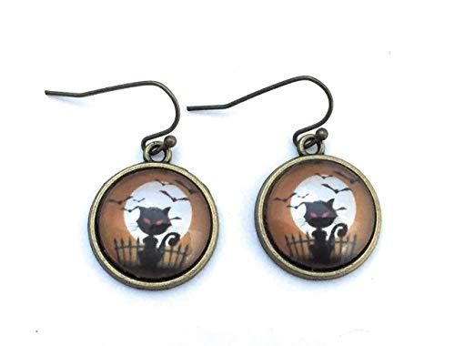Halloween Spooky Black Cat Dangle Earrings - Handmade]()