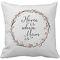 New Home Is Where Mom Is Throw Pillow Cover Stylish,Decorative,Unique,Cool,Fun,Funky Beauty POP 18 X 18 Inch Two Sides