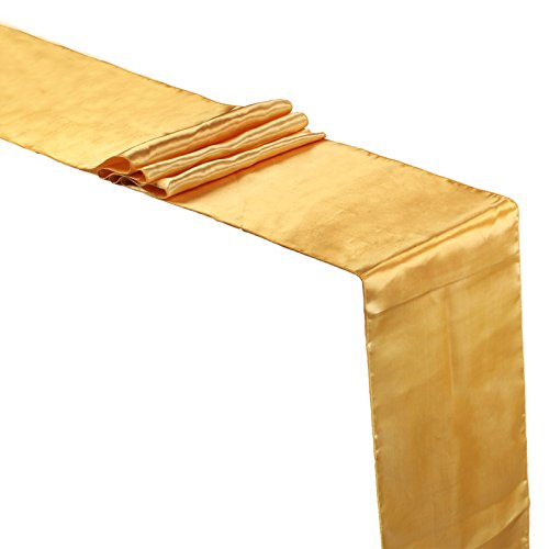 Vlovelife Gold Satin Table Runners 12 x 108 Inch Wedding Party Tabletop Décor Banquet Decoration, Set Of 5
