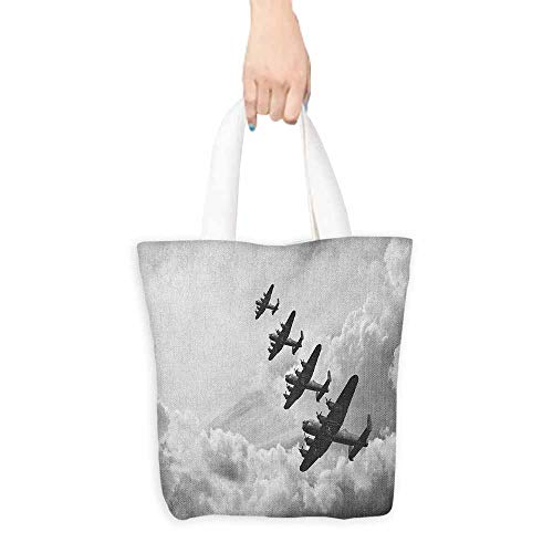 Canvas travel storage bag Airplane Retro Image of Lancaster Bomber Jets from Battle Royal Air Force in Clouds Plane Decorative crafts 16.5