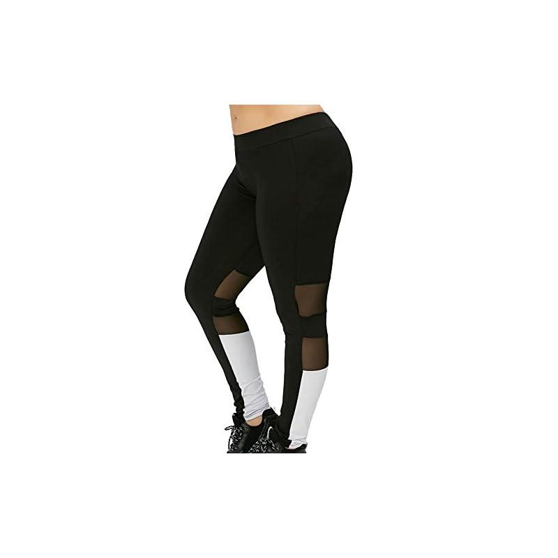 13367e81bea3d6 Tootu Women Plus Size Elastic Leggings Solid Criss-Cross Hollow Out Sport  Pants