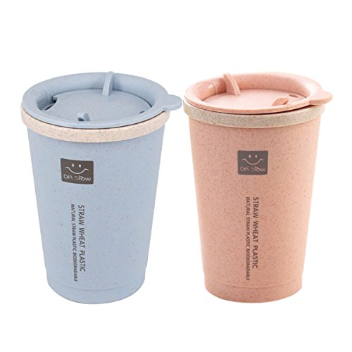 Kitchenhoney Travel Coffee Tumbler Cup with Lid Wheat Straw Eco-friendly Water Bottle Mug for Tea, Milk, Juice 9.8OZ 2Packs