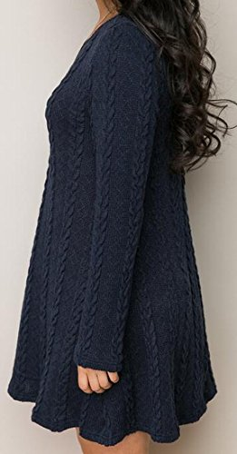 Manches Longues Femmes Domple Balançoire Tricot Évasé Soirée Mini Robe 4 #
