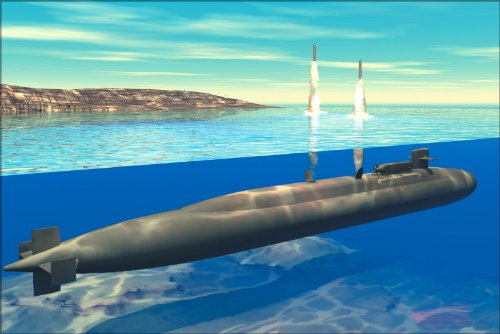20x30 Poster; Ohio-Class Submarine Launches Tomahawk Cruise Missiles (Artist Concept) ()