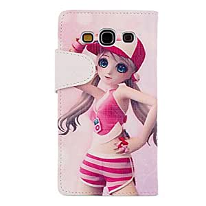 Bkjhkjy Pink Young Girl Drawing Pattern PU Leather Skin Plastic Hard Back Cover Pouches for Samsung Galaxy S3 I9300
