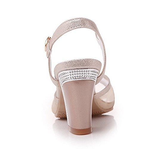 Sandals Toe Open Womens Heels AmoonyFashion Gold Solid High Buckle Pu C8a8Wq