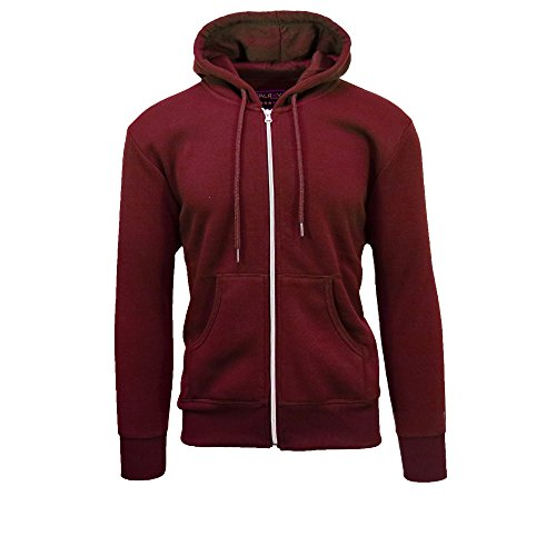Galaxy by Harvic Mens Full Zip Fleece Hooded Sweatshirt (Large, Burgundy)