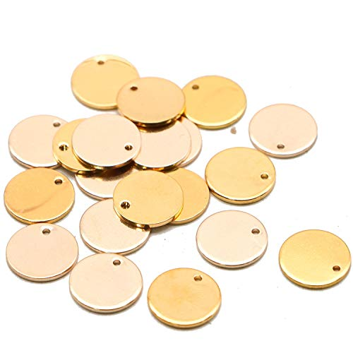 (JETEHO 20pcs 2 Colors Gold&Rose Gold Plated Coin Disc Charm Round Stamping Blank Tag Metal Jewelry Making Supply Blank Initial Charm DIY 5