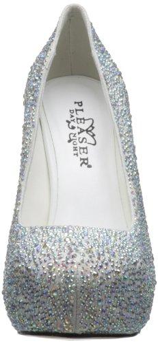 PRESTIGE-20, Fashion Plateau Pumps Wildleder weiss Strass, Größe wählen:35