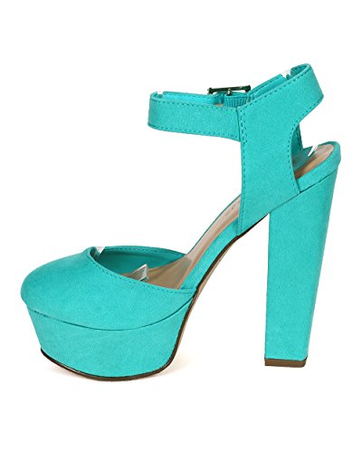 Strap Shank Toe Women CD75 Ankle Suede Pump Round Aqua Breckelles Open Platform qYg8w8O