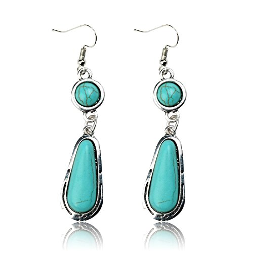 Tagoo Silver Alloy Tear and Round Turquoise Long Earring