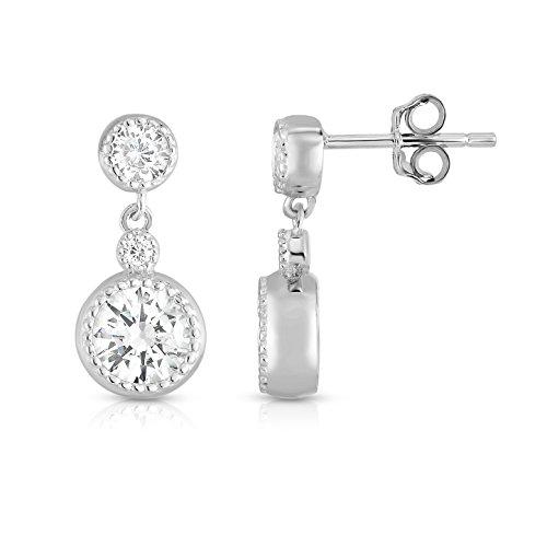 Rhodium Plated Sterling Silver Cubic Zirconia Milgrain Dangle Drop Earrings - Milgrain Dangle